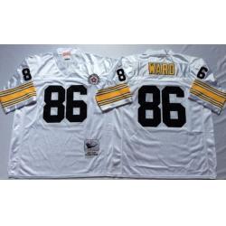 Men Pittsburgh Steelers 86 Hines Ward White M&N Throwback Jersey