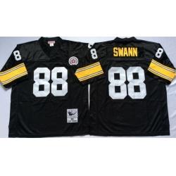 Men Pittsburgh Steelers 88 Lynn Swann Black M&N Throwback Jersey