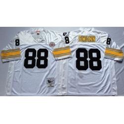 Men Pittsburgh Steelers 88 Lynn Swann White M&N Throwback Jersey
