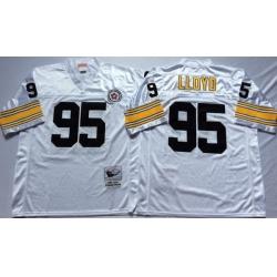 Men Pittsburgh Steelers 95 Greg Lloyd White M&N Throwback Jersey