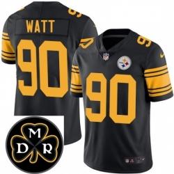 Mens Nike Pittsburgh Steelers 90 T J Watt Limited Black Rush Vapor Untouchable NFL MDR Patch Jersey