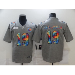 Nike Pittsburgh Steelers 19 JuJu Smith Schuster Gray Vapor Untouchable Rainbow Limited Jersey