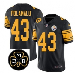 Nike Steelers Troy Polamalu Black Men's Stitched NFL Stitched MDR Patch Limited Rush Jersey