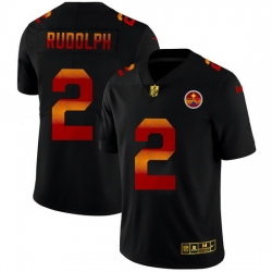 Pittsburgh Steelers 2 Mason Rudolph Men Black Nike Red Orange Stripe Vapor Limited NFL Jersey