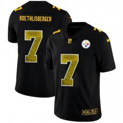 Pittsburgh Steelers 7 Ben Roethlisberger Men Black Nike Golden Sequin Vapor Limited NFL Jersey