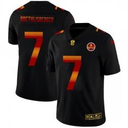 Pittsburgh Steelers 7 Ben Roethlisberger Men Black Nike Red Orange Stripe Vapor Limited NFL Jersey