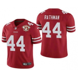 Men San Francisco 49ers 44 Tom Rathman Red 75th Anniversary Patch 2021 Vapor Untouchable Stitched Nike Limited Jersey