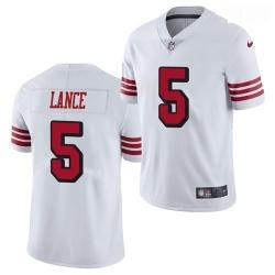 Men San Francisco 49ers #5 Trey Lance Jersey White 2021 Color Rush Limited