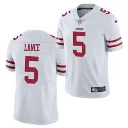 Men San Francisco 49ers #5 Trey Lance Jersey White 2021 Limited Football