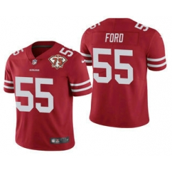 Men San Francisco 49ers 55 Dee Ford Red 75th Anniversary Patch 2021 Vapor Untouchable Stitched Nike Limited Jersey