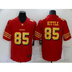 Men San Francisco 49ers 85 George Kittle Red Gold 2021 Vapor Untouchable Stitched NFL Nike Limited Jersey