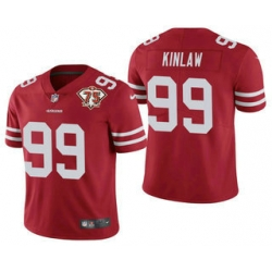 Men San Francisco 49ers 99 Javon Kinlaw Red 75th Anniversary Patch 2021 Vapor Untouchable Stitched Nike Limited Jersey