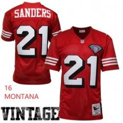 Men Sanfrancisco 49ers 16 Montana Red Throwback Jersey