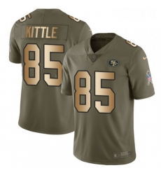 Mens Nike San Francisco 49ers 85 George Kittle Limited OliveGold 2017 Salute to Service NFL Jersey