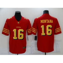 Men's San Francisco 49ers #16 Joe Montana Red Gold Untouchable Limited Jersey