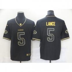 Men's San Francisco 49ers #5 Trey Lance Black Gold Nike Scarlet Player Limited Jersey