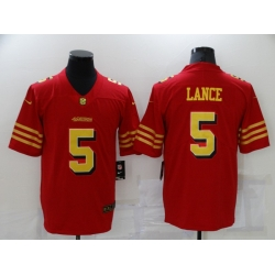 Men's San Francisco 49ers #5 Trey Lance Red Gold Untouchable Limited Jersey
