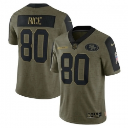 Men's San Francisco 49ers Jerry Rice Nike Olive 2021 Salute To Service Retired Player Limited Jersey