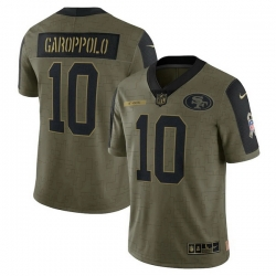 Men's San Francisco 49ers Jimmy Garoppolo Nike Olive 2021 Salute To Service Limited Player Jersey