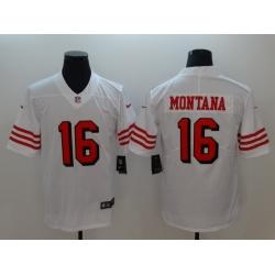 Men's San Francisco 49ers Joe Montana 16 White Nike Scarlet Player Limited Jersey