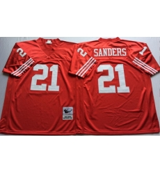 Mitchell And Ness 49ers #21 deion sanders red Mens Throwback Stitched NFL Jersey