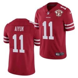 Nike San Francisco 49ers 11 Brandon Aiyuk Red 75th Anniversary Vapor Untouchable Limited Jersey