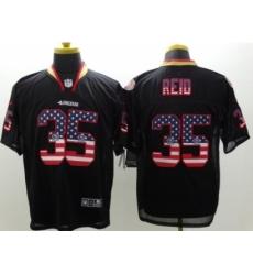 Nike San Francisco 49ers 35 Eric Reid Black Elite USA Flag Fashion NFL Jersey