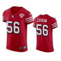Nike San Francisco 49ers 56 Samson Ebukam Red Rush Men 75th Anniversary Stitched NFL Vapor Untouchable Elite Jersey