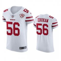 Nike San Francisco 49ers 56 Samson Ebukam White Men 75th Anniversary Stitched NFL Vapor Untouchable Elite Jersey
