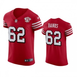 Nike San Francisco 49ers 62 Aaron Banks Red Rush Men 75th Anniversary Stitched NFL Vapor Untouchable Elite Jersey