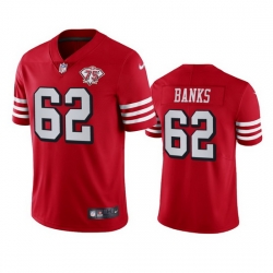 Nike San Francisco 49ers 62 Aaron Banks Red Rush Men 75th Anniversary Stitched NFL Vapor Untouchable Limited Jersey