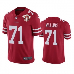 Nike San Francisco 49ers 71 Trent Williams Red Men 75th Anniversary Stitched NFL Vapor Untouchable Limited Jersey