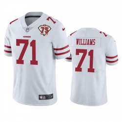 Nike San Francisco 49ers 71 Trent Williams White Men 75th Anniversary Stitched NFL Vapor Untouchable Limited Jersey