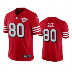Nike San Francisco 49ers 80 Jerry Rice Red Rush Men 75th Anniversary Stitched NFL Vapor Untouchable Limited Jersey