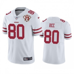Nike San Francisco 49ers 80 Jerry Rice White Men 75th Anniversary Stitched NFL Vapor Untouchable Limited Jersey