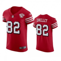 Nike San Francisco 49ers 82 Ross Dwelley Red Rush Men 75th Anniversary Stitched NFL Vapor Untouchable Elite Jersey