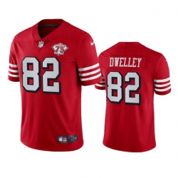 Nike San Francisco 49ers 82 Ross Dwelley Red Rush Men 75th Anniversary Stitched NFL Vapor Untouchable Limited Jersey