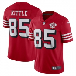 Nike San Francisco 49ers 85 George Kittle Red Rush Men 75th Anniversary Stitched NFL Vapor Untouchable Limited Jersey