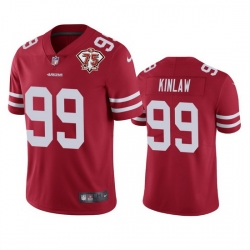 Nike San Francisco 49ers 99 Javon Kinlaw Red Men 75th Anniversary Stitched NFL Vapor Untouchable Limited Jersey