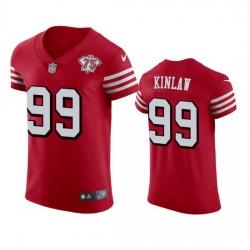 Nike San Francisco 49ers 99 Javon Kinlaw Red Rush Men 75th Anniversary Stitched NFL Vapor Untouchable Elite Jersey