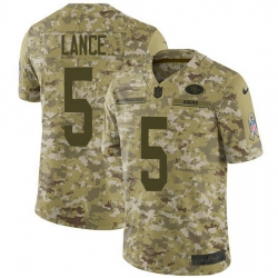 San Francisco 49ers 5 Trey Lance Camo Men Stitched NFL Limited 2018 Salute To Service Jersey