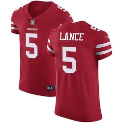 San Francisco 49ers 5 Trey Lance Red Team Color Men Stitched NFL Vapor Untouchable Elite Jersey