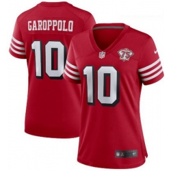 Women San Francisco 49ers 10 Jimmy Garoppolo 75th Anniversary Jersey