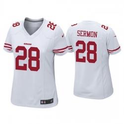 Women San Francisco 49ers 28 Trey Sermon White Vapor Limited Jersey