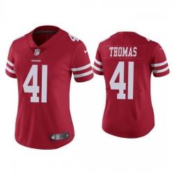 Women San Francisco 49ers 41 Ambry Thomas Red  Jersey