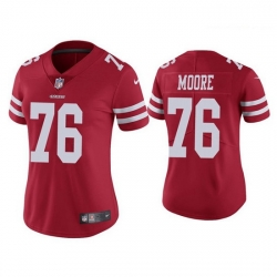 Women San Francisco 49ers 76 Jaylon Moore Red Jersey