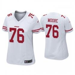 Women San Francisco 49ers 76 Jaylon Moore White Jersey