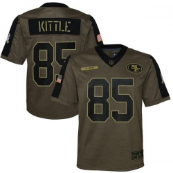 Youth San Francisco 49ers George Kittle Nike Olive 2021 Salute To Service Game Jersey