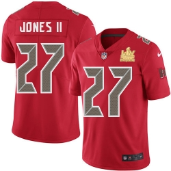 Men Nike Tampa Bay Buccaneers 27 Ronald Jones II Red Men Super Bowl LV Champions Patch Stitched NFL Limited Rush Jersey