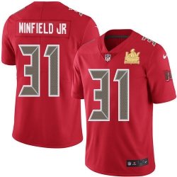 Men Nike Tampa Bay Buccaneers 31 Antoine Winfield Jr  Red Men Super Bowl LV Champions Patch Stitched NFL Limited Rush Jersey